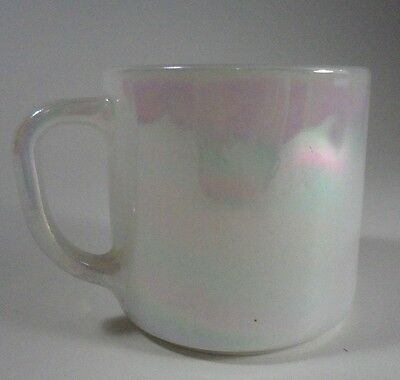Federal Glass Opalescent Lusterware White Coffee Mug D Handle USA 21
