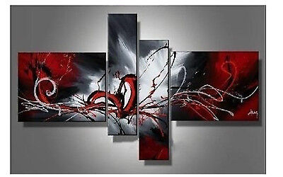NEW*4pc Huge Modern Abstract on Canvas Oil Painting Art +FRE GIFT