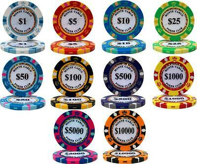 MONTE CARLO 14gm CLAY Poker Chip Sample Set - 10 New Chips!