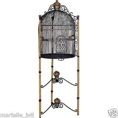 BIRD CAGE on Stand Domed Iron Black & Gold Handmade Finial Scroll Design New