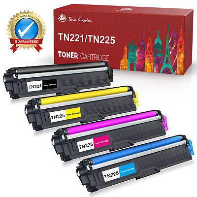 Set of 4 pk TN-221 TN-225 BCMY High Yield Toner for Brother HL-3140CW HL-3170CDW
