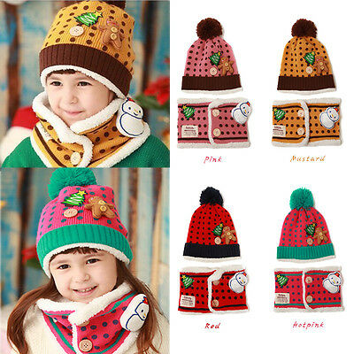 Kid Girl Boy Toddle Christmas Knitted Warm Plush Beanie Hat Snood Scarf Set Gift