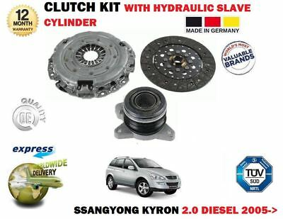 For Ssangyong Kyron 2.0 Td Diesel 2005-> 3 Piece Clutch Kit + Hydraulic Bearing