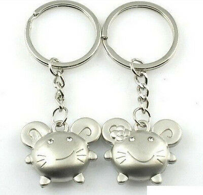 FD895 Sweet Smiling Mouse Flower Mice Keychain Keyring Keyfob Gift 1 Pair 2pcs:)