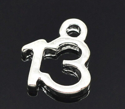 10 SILVER PLATE NUMBER 13 CHARM/PENDANT 11x9mm Birthday~Wine Glass Charms (N1)