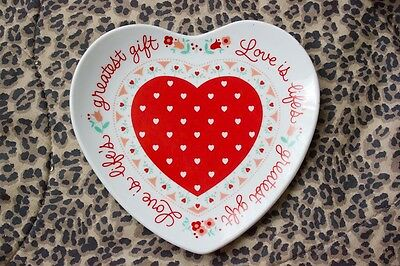 NEW Valentine Heart Ceramic Plate Love is Lifes Greatest Gift Serving Decor 1986