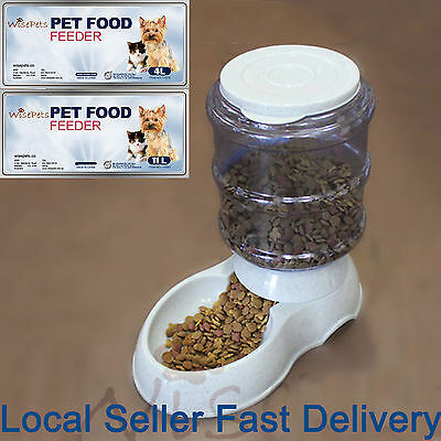 Large Automatic Pet Dog Cat Food Feeder Bowl Bottle Dispenser Plastic 4/11Liters