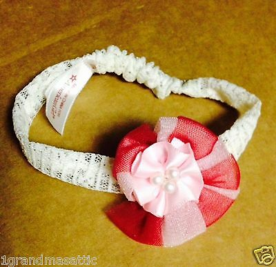 American Girl Samantha/'s Headband Meet BeForever Two-tone Pink White Lace New