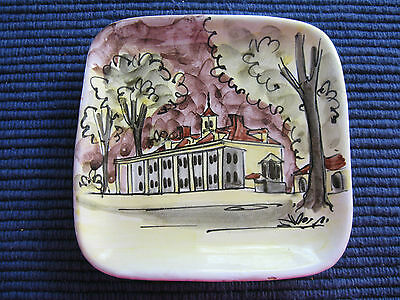 """CERAMIC square PLATE/DISH,5 1/4"""",handpainted Italy,Mt Vernon ivory,trees,house !"""