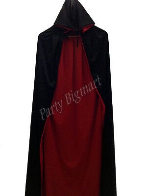Halloween Unisex Vampire Witch Cape 160cm Hooded Black/Red Two Side Costume Cape
