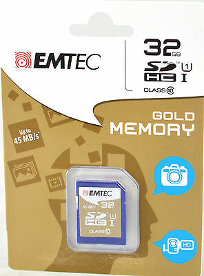 Emtec 32Gb Class 10 Sd Sdhc Full Size Flash Memory Card Camera Camcorder New