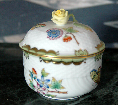 Herend China Porcelain Queen Victoria Lidded Sugar Bowl Pot 1663 VBO Pretty Rose