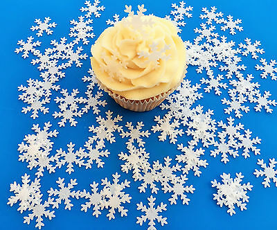 80 Edible White Snowflake Pre Cut Wafer Cupcake Toppers Novelty