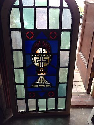Sg 16 Antique Arch Top Stain And Fired Window With Cross INRI