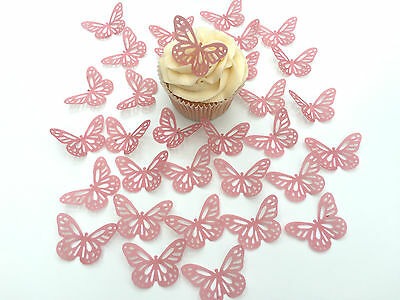 32 Edible Dusky Pink Butterflies Pre Cut Wafer Cupcake Toppers