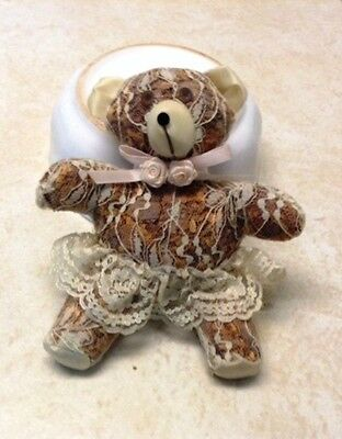 Vintage Retro Plush Stuffed Bear White Lace With Pink Bow Stuffed With Potpourri