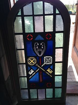 Sg 25 Then Antique Arch Top Stainglass Window Painted In Fired Depicting Keys