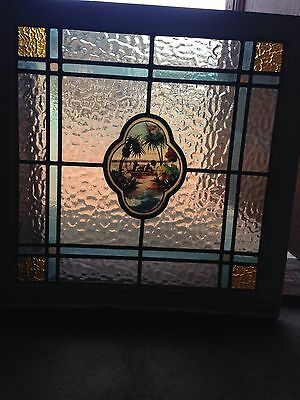 Sg 31 Antique Stained Glass Palm Tree Window 28 X 28""