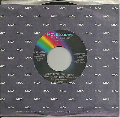 """Marvin Hamlisch, on Piano - Music From """"The Sting"""" / same 45 rpm 1974"""