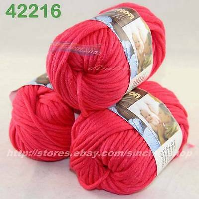 LOT 3 BallsX50g Special Thick Worsted 100% Cotton Knitting Yarn Deep Coral 2216