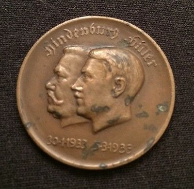 1933 Germany Hindenburg Hitler Shared Power Medal In Circulated Condition! NR!