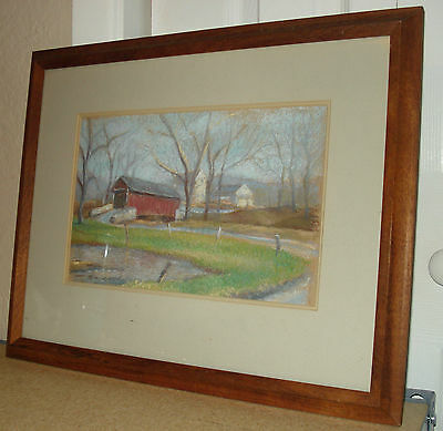 Pastel Painting of Covered Bridge signed Keith Caywood