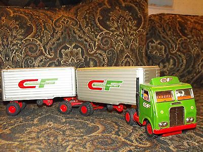 Consolidated Freightways Truck and Double Trailers Tin Friction Toy 1960
