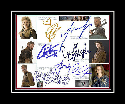 VIKINGS Travis Fimmel, Katheryn Winnick, George Blagden +3 Cast print signed