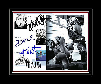 NIRVANA Kurt Cobain, Krist Novoselic  Dave Grohl printed signed & matted display