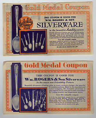 vintage - 2 GOLD MEDAL FLOUR Silverware Coupons 1935 & 1936