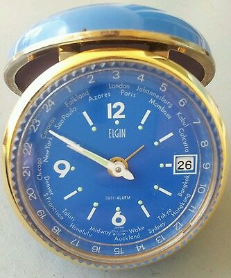 RARE Vtg ELGIN WORLD TIME Wind Up BLUE Travel ALARM CLOCK Calender Clam Shell