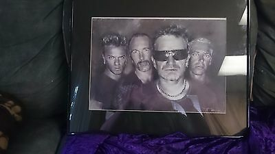 U2 by HAIYAN - April 2001 New York - PENCIL SKETCH PRINT FRAME FRAMED 20x16 inch