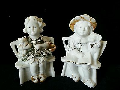 VTG Bisque Pottery Figurines Girl With Cat & Basket, Boy With Dog & Book GERMANY