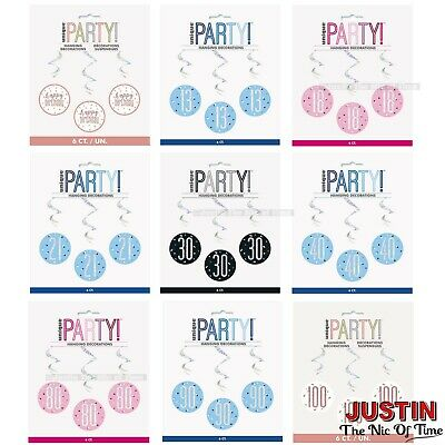 6x HANGING STRING DECORATIONS Foil Metallic 3 Colours MILESTONE Birthday Party