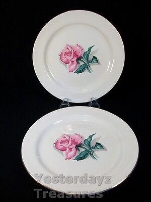 """A Pair of 9"""" Dinner Plates  by Homer Laughlin, EggShell Nautilus, Pink Rose"""