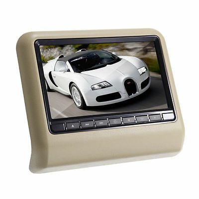 "Portable HD 9"" LCD Car Headrest Monitor DVD Player Games FM IR DVD SD USB Beige"