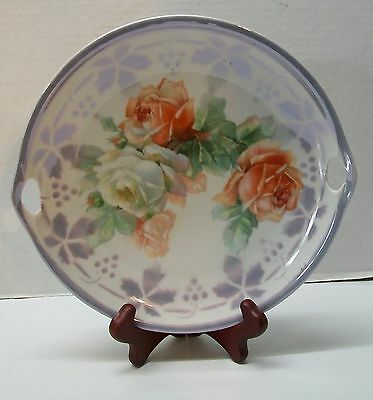 Vintage Porcelain Germany Plate Purple Lavender with Roses Cut Out Handle