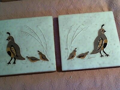 LOT OF 2 WHITE TILES WITH QUAIL & CORK BACK USE AS TRIVIT NICE & THICK ; FREE SH