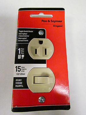 NEW - Pass & Seymour Switch/Outlet 15 Amps 120/125VAC Ivory 691-ICCC5
