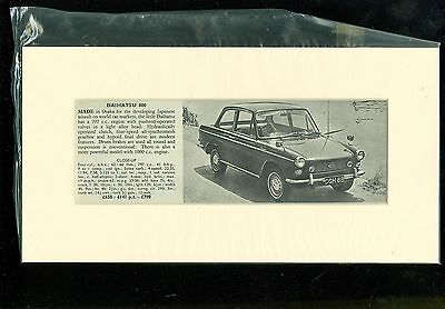 DAIHATSU 800 SALOON specification summary (mounted & ready for framing)