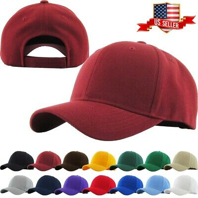 506ad7c88 Loop Plain Baseball Cap Solid Color Blank Curved Visor Hat Adjustable Army  Mens