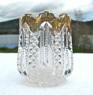 ANTIQUE 1800s TOOTHPICK HOLDER Clear PRESSED Glass, GOLD Trim, Diamond & Bead
