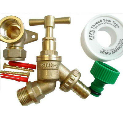Outside Tap Kit With Brass Wall Plate Elbow and Garden Hose Pipe Fitting