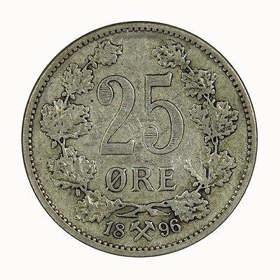 1896 Norway 25 Ore Coin gVF-aEF