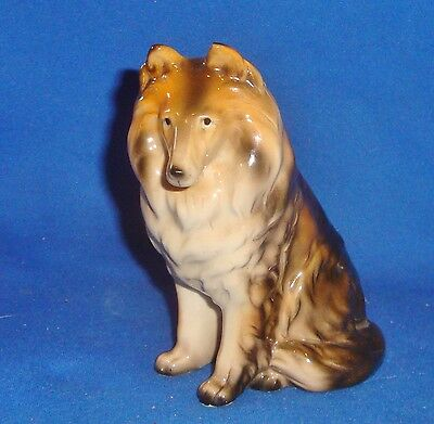 Vintage Unique Stafford Japan Collie Dog Porcelain Figurine From a Lg Collection