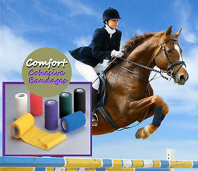 COMFORT PROFESSIONAL 12 ROLLS  HORSE COHESIVE BANDAGES 10cmX4.5m.free postage
