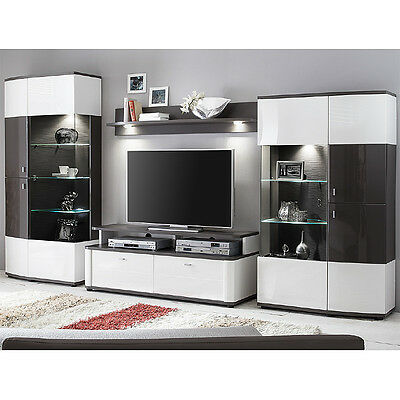 wohnwand hochglanz wei graphit wandboard vitrine andbauwand wohnzimmer schrank eur. Black Bedroom Furniture Sets. Home Design Ideas
