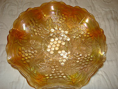 Crimped Nappy-Vintage Carnival (Orange) Grape Pattern Bowl Imperial Glass Ohio