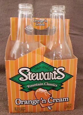 VINTAGE POP COLLECTIBLES--4 STEWARTS ORANGE N' CREAM BOTTLES--EMPTY--VERY NICE!
