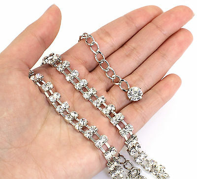 Silver Crystals Belt or Belly Chain with 2 Rows Diamante Crystals, in a gift Box